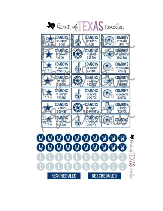 Dallas Cowboys 2020 Schedule.Dallas Cowboys 2019 2020 Season Schedule Stickers For Erin Condren Life Planner