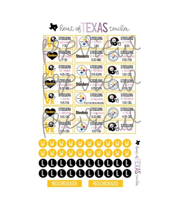 Steelers 2020 Schedule.Pittsburgh Steelers 2019 2020 Season Schedule Stickers For Erin Condren Life Planner