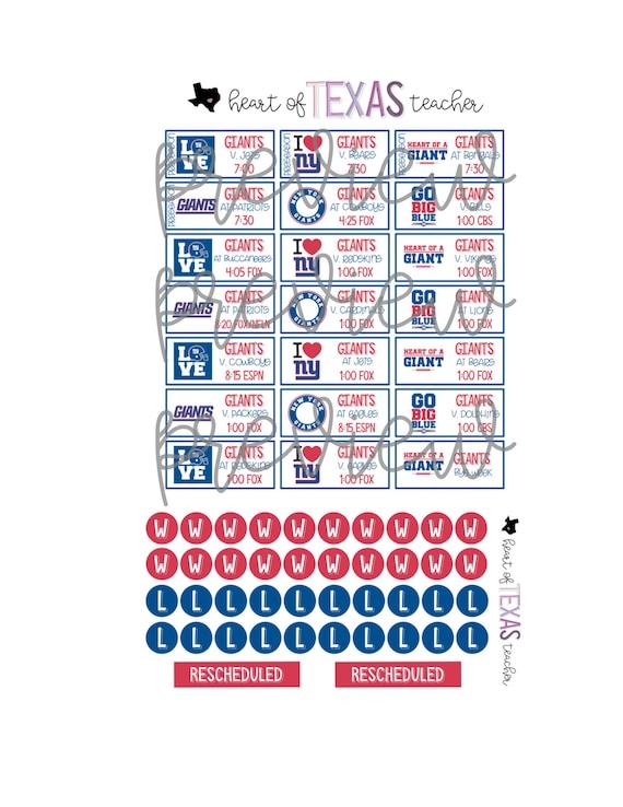 New York Giants Schedule 2020.New York Giants 2019 2020 Season Schedule Stickers For Erin Condren Life Planner
