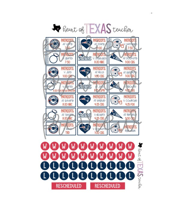 New England Patriots Schedule 2020.New England Patriots 2019 2020 Season Schedule Stickers For Erin Condren Life Planner