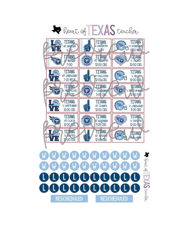 Titans Schedule 2020.Tennessee Titans 2019 2020 Season Schedule Stickers For Erin Condren Life Planner