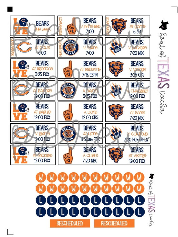 Chicago Bears 2020 Schedule.Chicago Bears 2019 2020 Schedule Stickers For Create 365 Big Happy Planner By Mambi