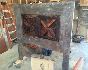 Reclaimed wood distress headboard and nightstands