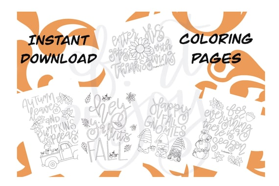 Fall Hand Lettered Coloring Pages