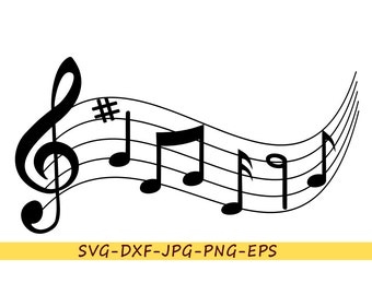SVG musical notes, clip art in SVG format-EPS-dxf-png-jpg. For Cricut Space, cameo Silhouette, vinyl cutting machine, for embroidery