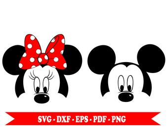 Mickey and Minnie mouse svg, clip art digital format svg, eps, dxf, png, pdf. For Silhouette Cameo, Cricut, vinyl, embroidery, cutting files