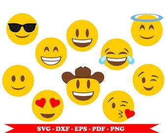 Emojis svg, emoji whatsapp svg, ten clip art in digital format svg, eps, dxf, pdf png. For Silhouette Cameo, Cricut, embroidery, vinyl