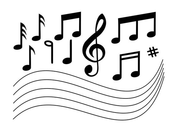 Svg music notes 11 clip art in svg format eps dxf png for for Note musicali dwg
