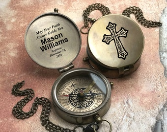 Personalized First Communion Gift Confirmation Gift, Compass Baptism Gift Religious Gift, Personalized Compass, Custom Engraved Baptism Gift