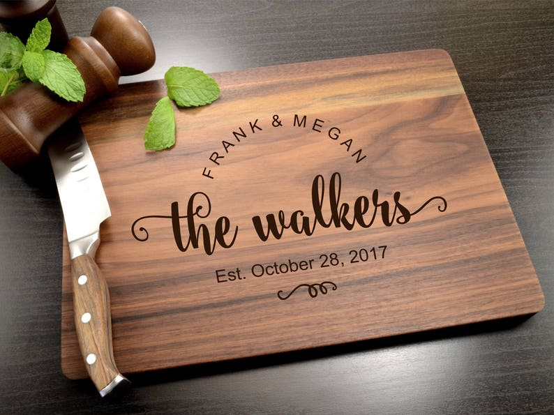 Personalized Cutting Board Wedding Gift Kitchen Decor image 0