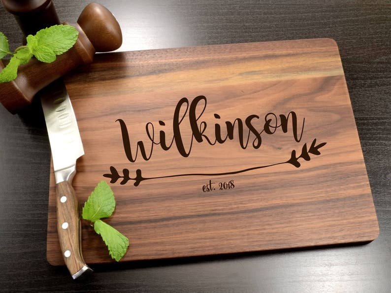 Personalized Walnut Cutting Board Custom Engraved Charcuterie image 1