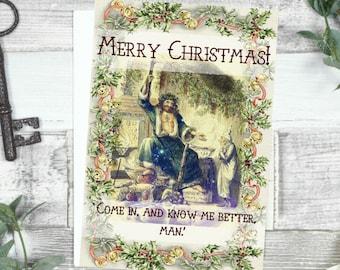 Merry Christmas Card - 'Know Me Better Man' A Christmas Carol Original Illustration Literary Gift
