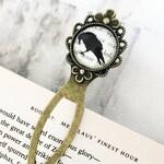 The Raven Bookmark - Vintage Bronze & Glass, Edgar Allan Poe, Metal Bookmark, Gift For Readers