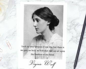 Virginia Woolf Greeting Card - 'Lock Up Your Libraries', Literary Card, Feminism, Freedom, Freethinkers, Writer Gift