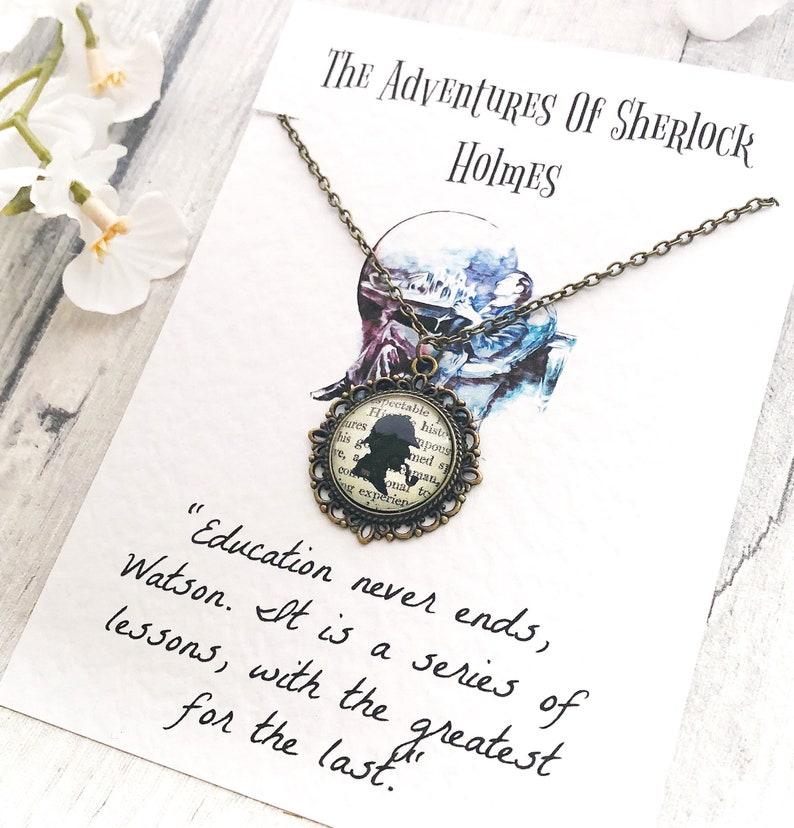 Antique Bronze Tone Glass Pendant Arthur Conan Doyle Watson Moriarty Detective Gifts Sherlock Holmes Necklace Book Lover
