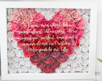 Flower Shadow Box Gift | Personalized Frame With Name or Quote and Hand-Rolled Flowers | Gift for Her | Mother's Day | Wedding Gift