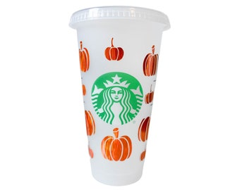 Pumpkin Cold Cup Tumbler | Fall Cup | Pumpkin Decals | Fall Cup Decals | Gifts for Her | Pumpkin SVG Personalized Cup Halloween