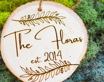 Engraved Wooden Family Ornament | Custom Ornament | Christmas 2021 | Rustic Christmas Decor | Personalized Wedding Favors | Engagement Gift
