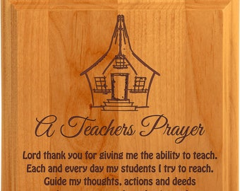 Teacher's Prayer Plaque Red Alder Custom Engraved Teacher Prayer Plaque - Teacher Award, Prayer Plaque, Profession Prayer,