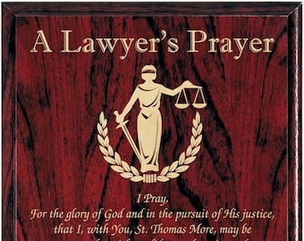 A Lawyer's Prayer Engraved Plaque, Attorney Plaque, Prayer Plaque