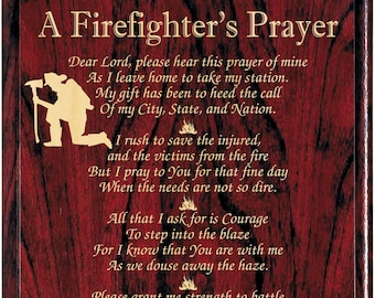Firefighter's Prayer Plaque, Firefighters Prayer, Firefighters Gift, Firefighters Decor Fireman Prayer Fire Fighters Retirement Fireman Sign