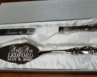 Engraved Silver Wedding Cake Cutting Set Cake Knife Cutting Server Set Silver Vintage Cake Knife and Server