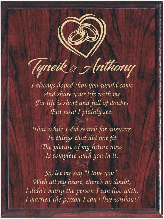 Wedding Poem Engraved Poem Engagement Plaque Poem Gift Etsy