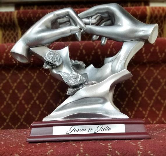 Bond of Marriage Wedding Ring Lovers Hands Statue Sculpture Wedding Gift
