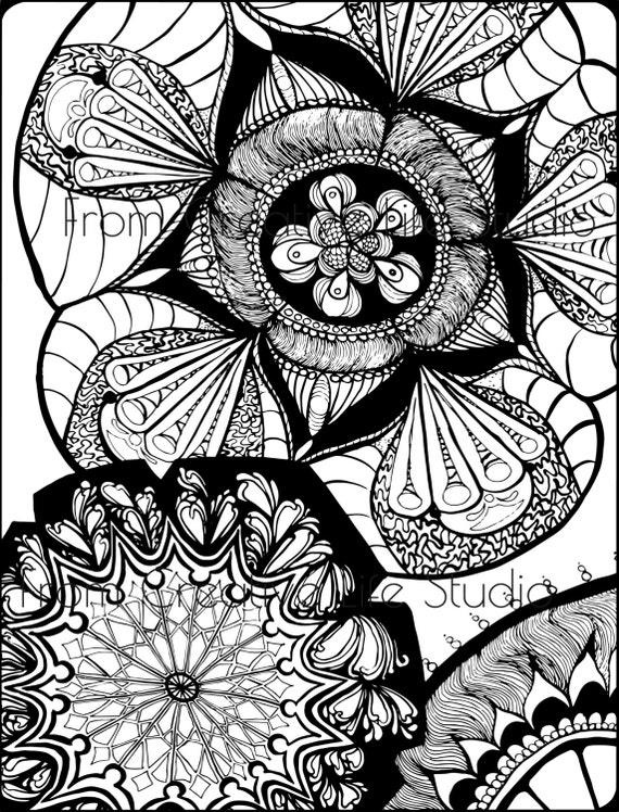 Kwiatowy Mandala Kolorowanki Dla Doroslych Etsy