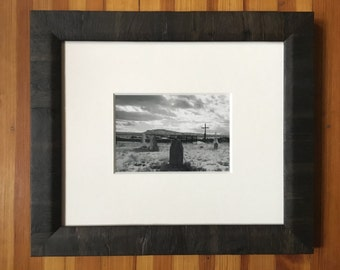 "Framed Black and White Photograph Silver Gelatin Print ""Cemetery at Galisteo"""