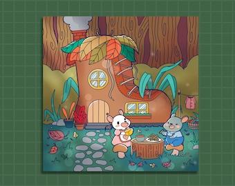 Print, Wall Art Print, kawaii art print, cute art print, illustrated art print, Mouse House