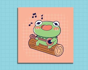 Print, Cute art print, kermit art print, kawaii art print, cute art print, illustrated art print, Singing Kermit day