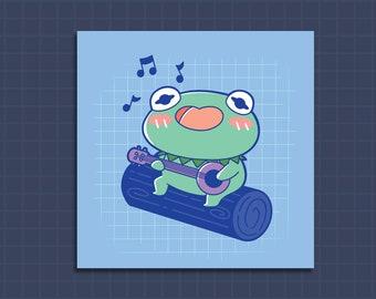 Print, Cute art print, kermit art print, kawaii art print, cute art print, illustrated art print, Singing Kermit night
