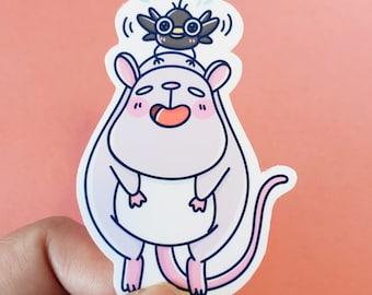 Ghibli Sticker, waterproof stickers, laptop stickers, water bottle stickers, cute vinyl sticker, Howl's Crow Mouse Sticker