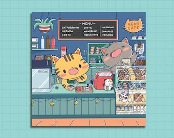 Print, Cute art print, kawaii art print, cute art print, illustrated art print, Cat Cafe