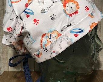 New Kitty scrub cap surgical hat for women in modern style with 2-way  fabric ties 403eb7c46a4f