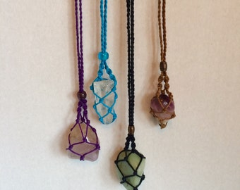 Macrame Pouch Necklace - Crystal Pouch Necklace - Netted Necklace - Crystal Healing - Crystal Pouch - Netted Pouch - Gift - Interchangeable