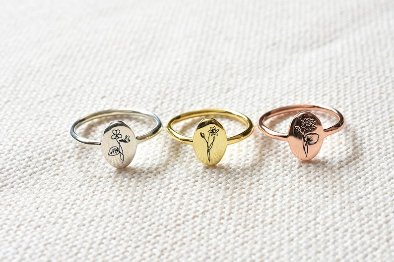 Personalized gifts Birth flower Ring Gift for her Dainty Ring Wedding gifts Personalized silver ring Anniversary gift Gift ideas