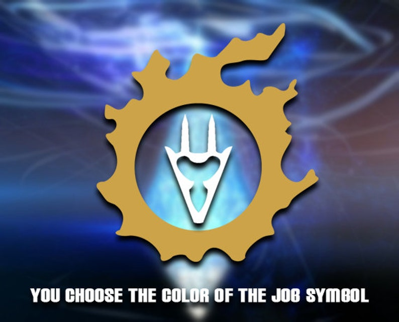 FFXIV - Dragoon in Main Scenario Quest Icon (DRG) (Dual Color Gold MSQ)  Vinyl Decal | Car Decal | Laptop Decal | Phone Decal