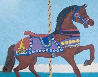 Brown Carousel Horse photo print to download