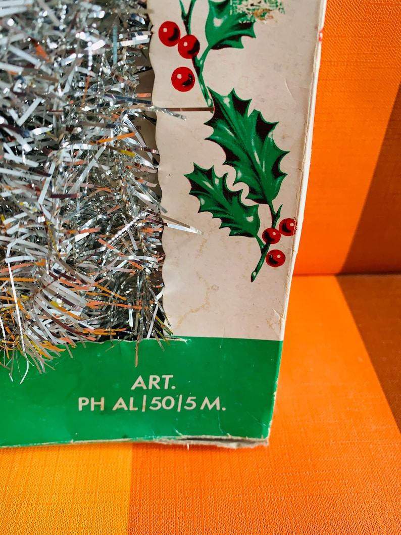 Vintage Christmas Lametta Slinger 5 meter Zilver Made in Italy 60s Original Box