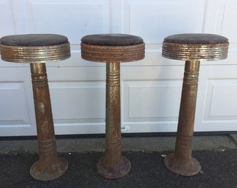 Antiques 1900-1950 Antique Soda Fountain Ice Cream Parlor Stools Cast Iron Porcelain For Sale
