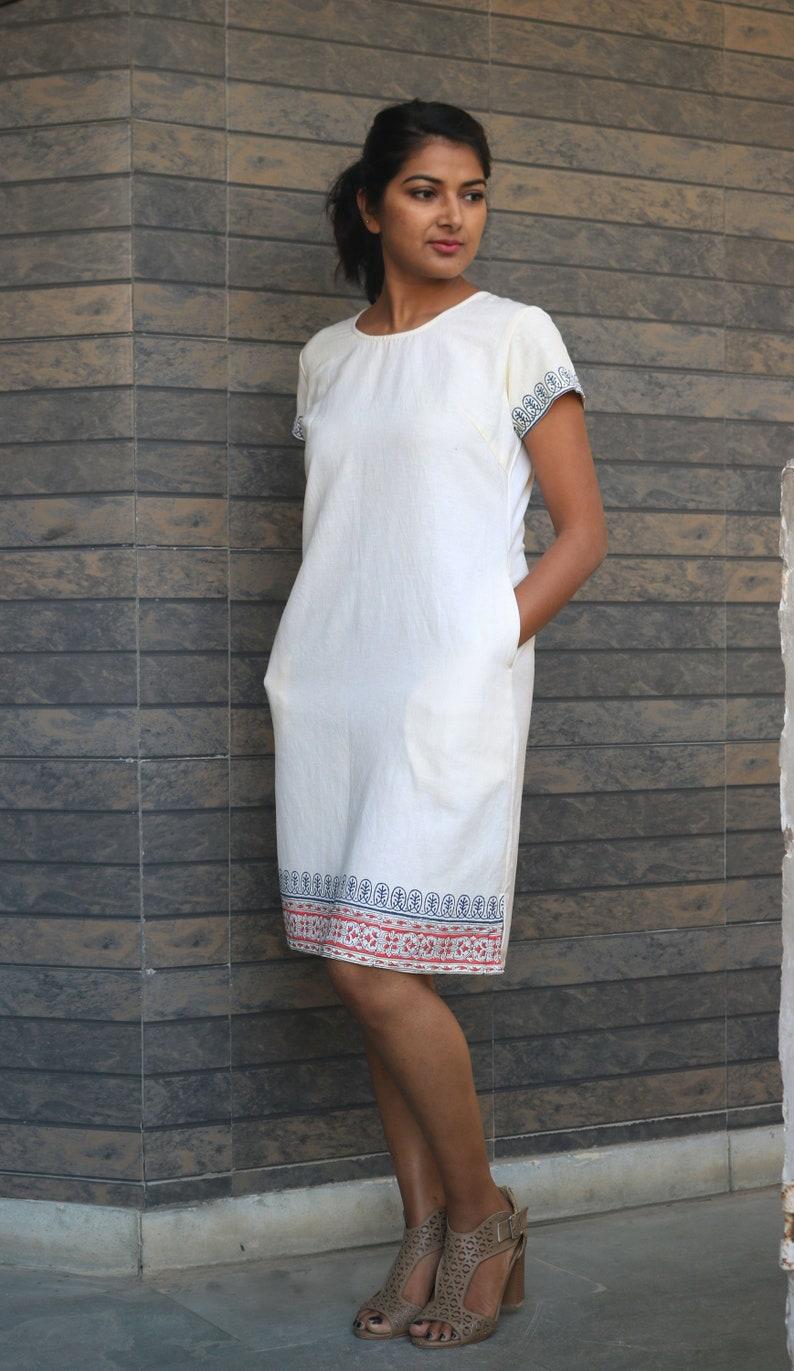 4f385c777a4 Off-white linen tunic dress for women Linen shift dress Hand