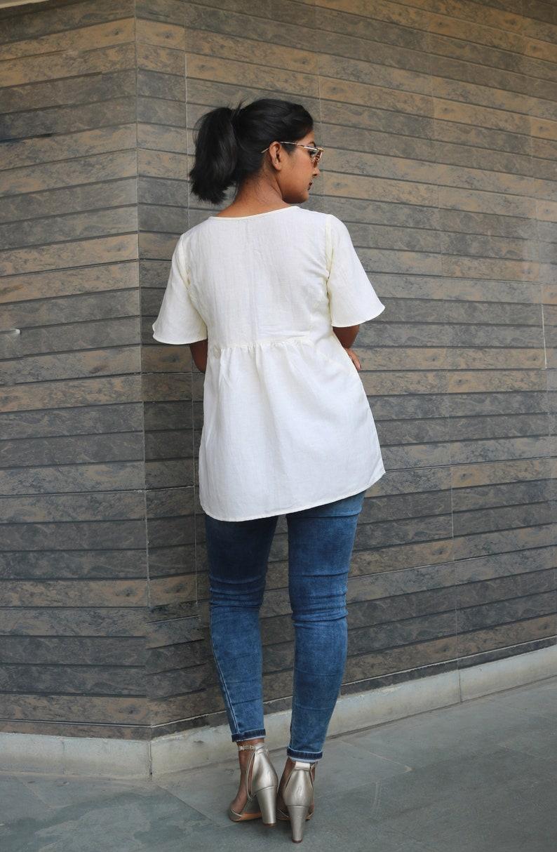Off white linen topLinen loose topBlock print top Boho linen topLinen blousemade to order custom made