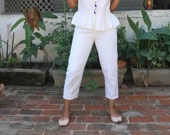 Cream linen three quarter pant/linen pant/linen capri/made to order