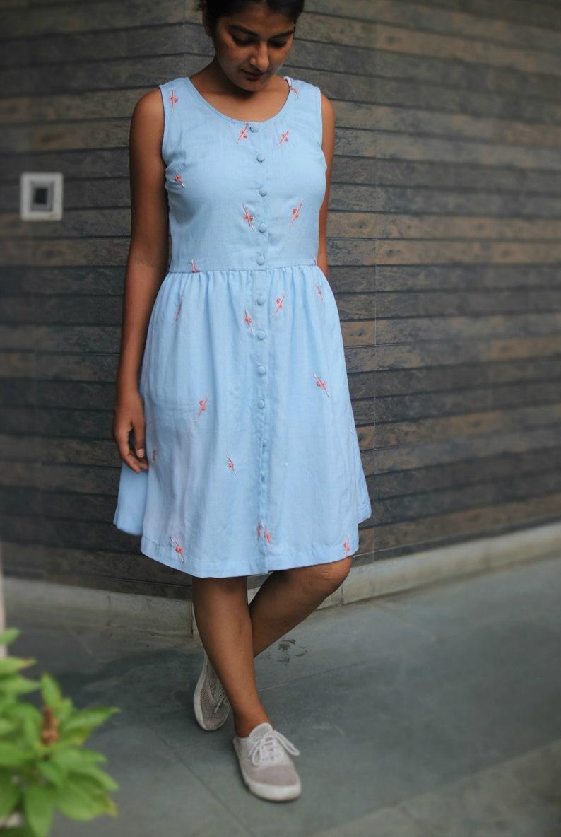 c116b8cd1bc Skater dress for women Blue linen dress Linen shrug Linen