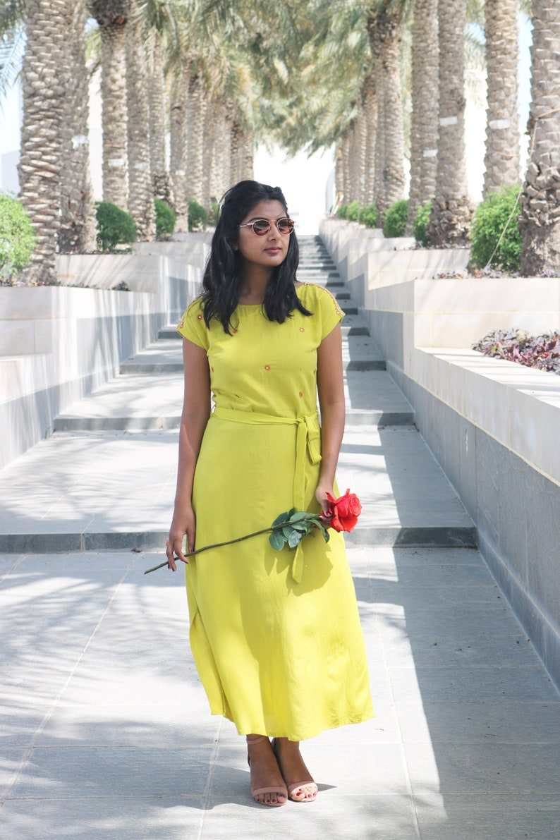 Maxi dress for women/ Lime green linen dress/ made to order/ custom made/  Plus size