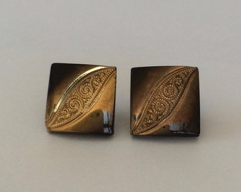 Vintage Czechoslovakian Buttons Black Glass Gold Paisley Square (13mm) (CBB.X10)