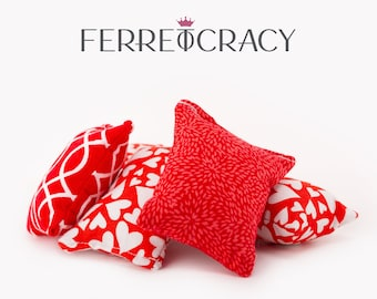 Pillow Toys in Red Color with Different Patterns, Handmade Throw Pillow for Baby Animals, Designer Animal Toys, Gift for Him/Her