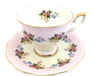 Pink Tea Cup and Saucer, Vintage Royal Standard, Floral Pattern, Shower, Birthday